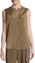 St. John Crystal-Trim Sleeveless Blouse, Taupe