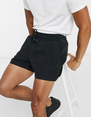 Selected drawstring waist short in black