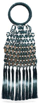 Rosantica Destiny Bead And Tassel Top-handle Bag - Womens - Blue White