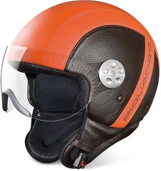 Piquadro Open Face Two-tone Leather Helmet w/Visor