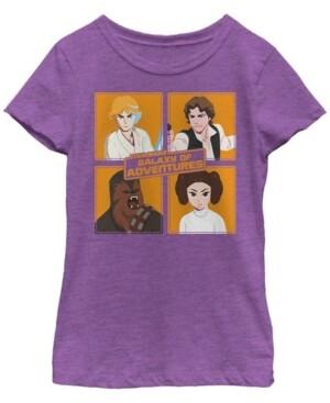 Fifth Sun Star Wars Big Girl's Galaxy of Adventures Group Shot Square B1P Short Sleeve T-Shirt