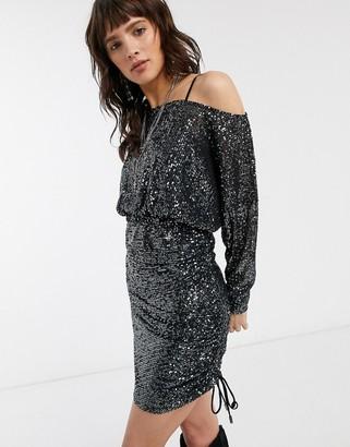 Free People gisele sequin mini dress in black