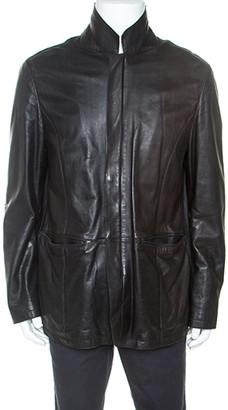 Armani Collezioni Black Leather Zip Front Jacket 3XL