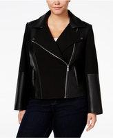 Calvin Klein Plus Size Faux-Leather-Detailed Moto Jacket