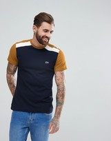 Lacoste Pique Colour Block T-shirt In Navy