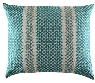 "Ann Gish & The Art of Home Trellis Linen Geometric 18"" Lumbar Pillow Color: Azure"