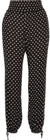 Tory Burch Fin Crinkled Printed Georgette Tapered Pants - Black