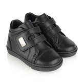Boys Black Leather Velcro Strap Trainers