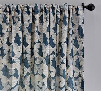 Pottery Barn Butterfly Print Linen/Cotton Rod Pocket Curtain