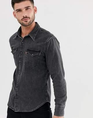 Levi's barstow western denim shirt in black worn wash