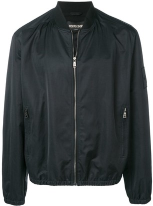 Roberto Cavalli sleeve logo patch bomber jacket