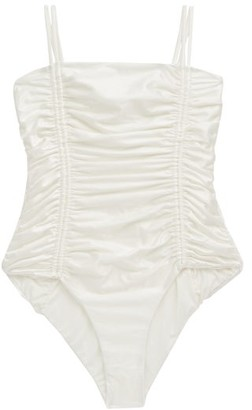 Isa Boulder Chandler Tie-straps Ruched Swimsuit - Ivory