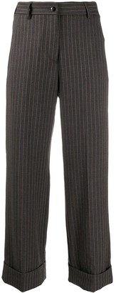 Brag-wette Pinstripe Cropped Trousers