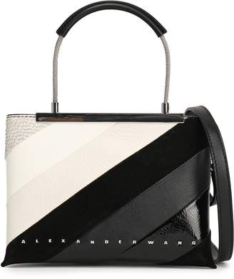 Alexander Wang Mini Striped Smooth, Patent And Textured-leather Shoulder Bag