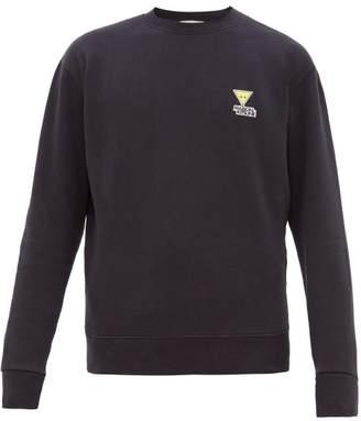 MAISON KITSUNÉ Triangle Fox Patch Cotton Blend Sweater - Mens - Navy Multi