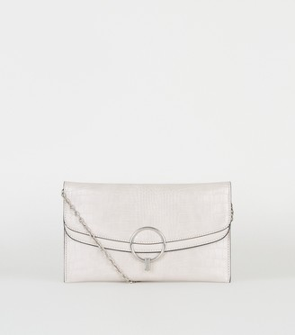 New Look Faux Croc Ring Clutch Bag