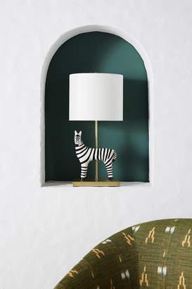 Anthropologie Ceramic Zebra Table Lamp