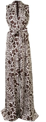Adam Lippes Animal-Print Tie-Waist Jumpsuit