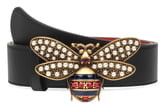 Gucci Embellished Bee Clasp Leather Belt