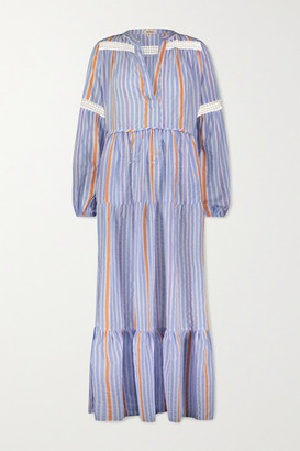 Lemlem Bahiri Crochet-trimmed Striped Linen-blend Maxi Dress - Blue