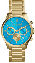 Michael Kors Mid-Size Golden/Blue Stainless Steel Bailey Chronograph Watch