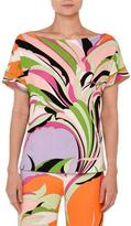 Emilio Pucci Printed Boat-Neck Boxy Tee, Pink/Green