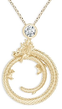 Natori 14K Yellow Gold Diamond Dragon Pendant Necklace, 14-17