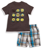 Kids Headquarters Boys 2-7 Little Boys Emoji Tee and Shorts Set