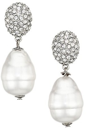 Kenneth Jay Lane Crystal & Glass Pearl Drop Earrings