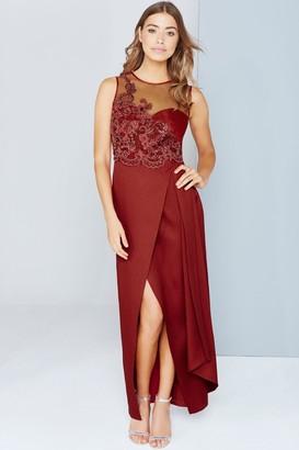 Little Mistress Scarlet Red Lace Applique Maxi Dress