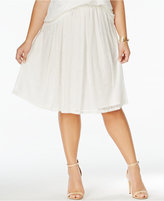 ING Trendy Plus Size Pull-On Lace A-Line Skirt