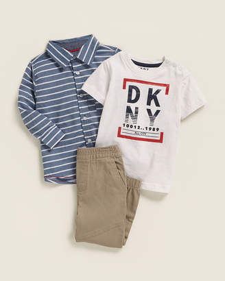 DKNY Infant Boys) 3-Piece Graphic Bodysuit & Jogger Set