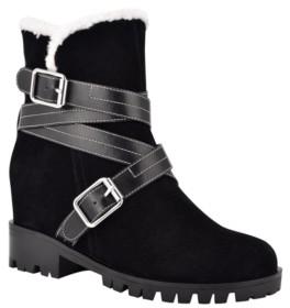 Nine West Women's Davyd Demi Wedge Buckle Detailing Faux Fur Booties Women's Shoes