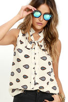 LuLu*s Keep an Eye Out Black Print Sleeveless Top