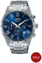 Lorus Blue Dial Chronograph Stainless Steel Bracelet Mens Watch