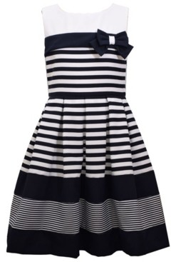 Bonnie Jean Big Girls Sleeveless Box Pleated Dress with Banding and Bow on Bodice
