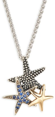 Effy Sterling Silver, 14K Yellow Gold Blue Sapphire Starfish Pendant Necklace
