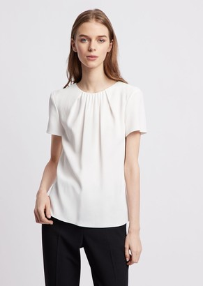 Emporio Armani Cady Blouse With Pleated Neckline