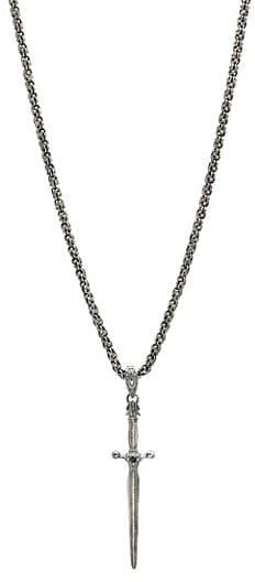 Thumbnail for your product : John Varvatos Skulls & Daggers Sterling Silver & Black Diamond Skull Necklace