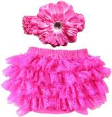 Wennikids Lace Ruffle Diaper Cover Bloomer and Headband SET for Baby Girls Medium