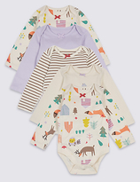 Marks and Spencer 5 Pack Pure Cotton Woodland Bodysuits