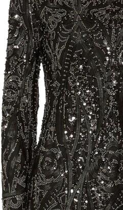 Gina Bacconi Marzena Swirl Embroidered Floral Dress, Black