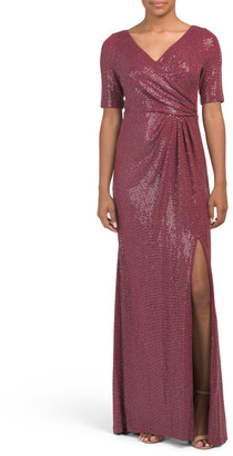 Sequined Knit Draped Gown
