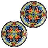 Handcrafted Talavera Ceramic 12 in Serving Plates (Set of 2), 'Blue Teziutlan'