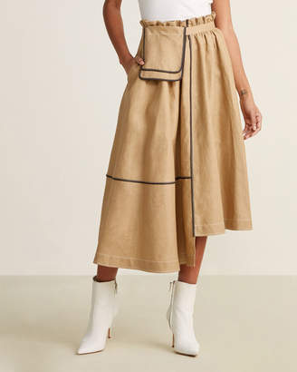 Loewe Beige Linen Belt Pocket Skirt