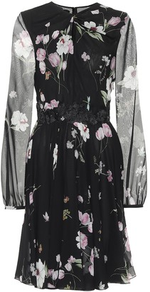 Giambattista Valli Floral lace-trimmed silk crepe dress