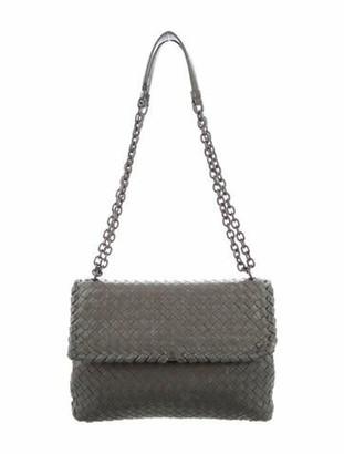 Bottega Veneta Nappa Intrecciato Medium Olimpia Shoulder Bag Grey