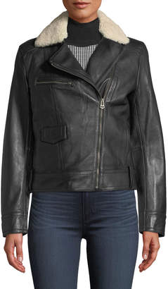 Cole Haan Bonded Leather Moto Jacket w/ Shearling Fur Trim