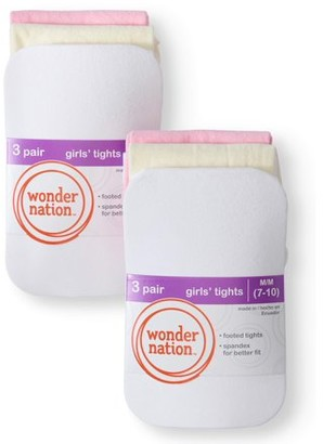 Wonder Nation Opaque Tights, 6 Pack Stockings, Sizes S-L