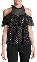 Rebecca Taylor Metallic Clip Sleeveless Ruffle Top, Black